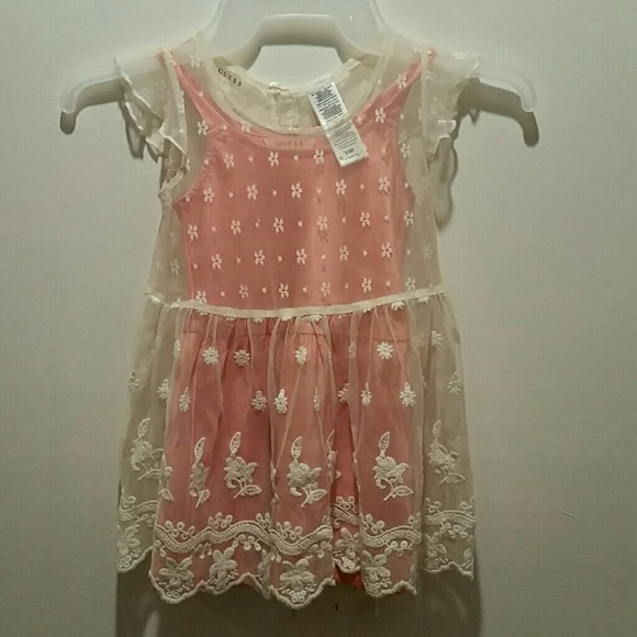 Guess 3t 3 Denim And Floral Chiffon Tunic Or Dress
